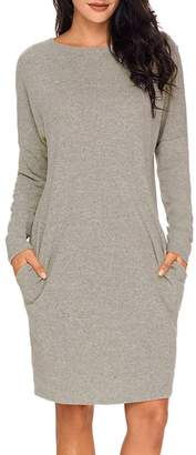 SUBWELL Women's Casual Plain Long Sleeve Crew Neck Loose T-Shirt Dress With Pockets