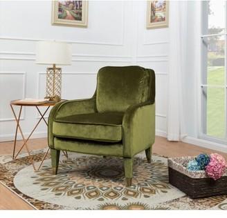 Chic Home Milka Accent Club Chair Sleek Elegant Velvet Upholstered Plush Cushion Seat Metal Trim, Modern Transitional, Green