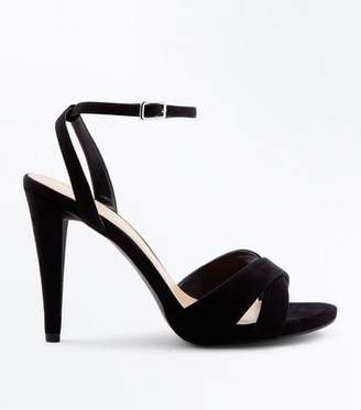 New Look Wide Fit Black Suedette Cone Heeled Sandals