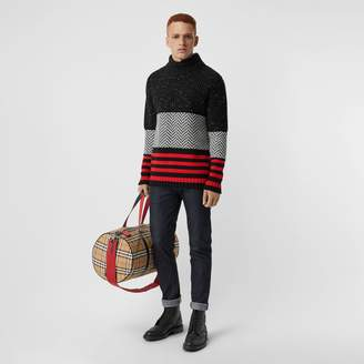 Burberry Contrast Knit Wool Cashmere Blend Sweater, Black
