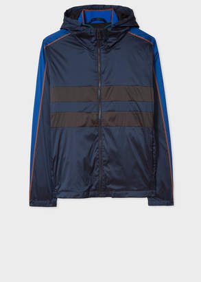 Paul Smith Men's Navy Lightweight Hooded Jacket With Stripe Detail