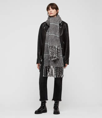 AllSaints Brushed Wool Plaid Scarf
