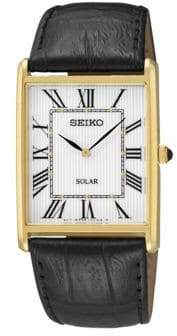Seiko Mens Dress Solar Watch with Leather Strap