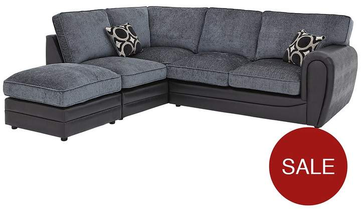 Bardot Left-Hand Standard Back Corner Chaise Sofa + Footstool