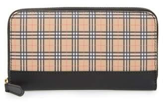 Burberry Mini Vintage Canvas Check & Leather Zip Around Wallet