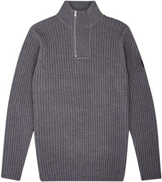 Burton Mens Ribbed Zip Neck Jumper