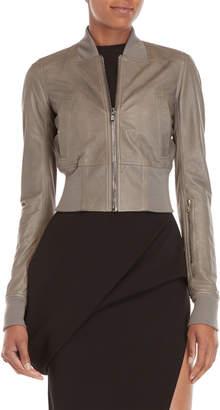 Rick Owens Grey Leather Bomber Jacket