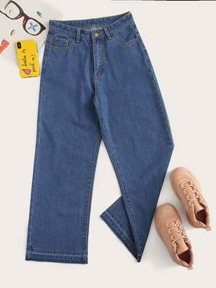 Shein Stitch Detail Wide Leg Jeans