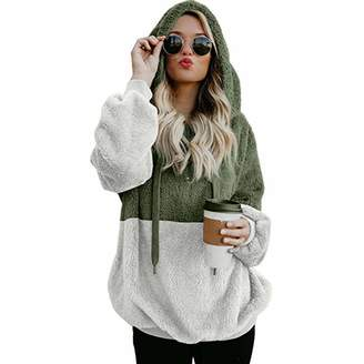 BOLUOYI Pullover Hoodie Unisex,Women Hooded Sweatshirt Winter Warm Zipper Pocket Pullover Blouse Shirts CO/S
