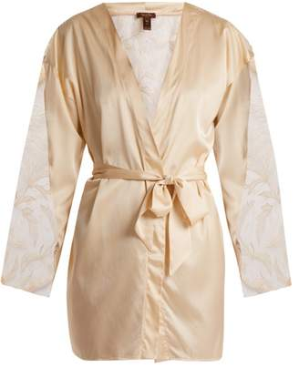 Coco De Mer - Wonderland Lace Insert Silk Blend Robe - Womens - Nude