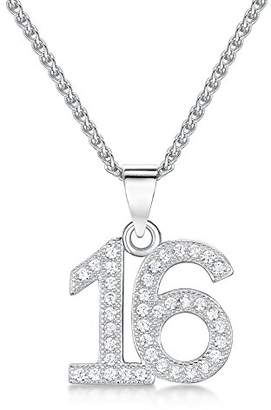 Jo for Girls 'Sweet 16' Number Pendant in Sterling Silver and Cubic Zirconia on a Chain of Length 41-46cm