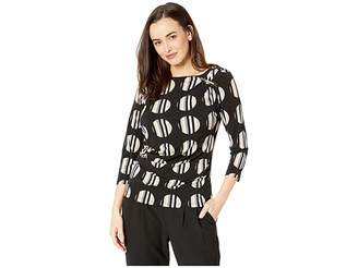 Calvin Klein Printed 3/4 Sleeve Top with Ruching and Bar