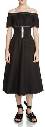 Maje Relera Zip Detail Off-the-Shoulder Dress