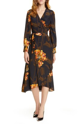 Ted Baker Stela Caramel Floral Print Long Sleeve Silk Wrap Dress