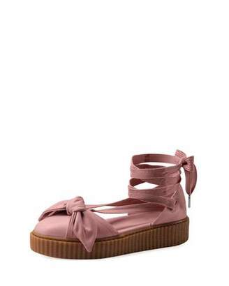 FENTY PUMA by Rihanna Bow Leather Creeper Sandals, Silver Pink