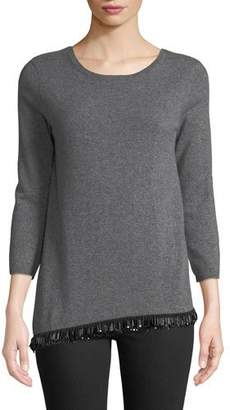 Neiman Marcus Asymmetrical Embellished-Hem Cashmere Pullover Sweater