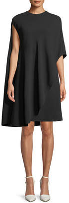 Calvin Klein Asymmetric Flowy Silk-Wool Cocktail Dress