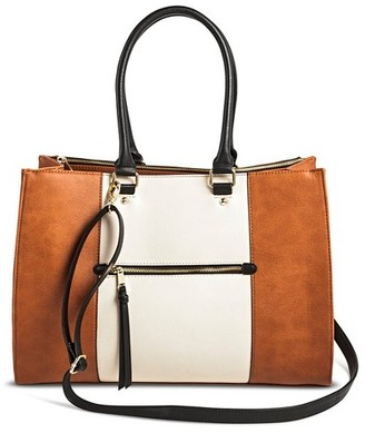 Merona Women's Color Block Tote Faux Leather Handbag with Zip Front Pocket Cognac - Merona $39.99 thestylecure.com