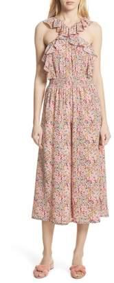 Rebecca Taylor Margo Halter Top Floral Silk Jumpsuit