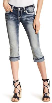 Grace In LA Denim Embroidered Sequin Accent Straight Leg Capri Jeans