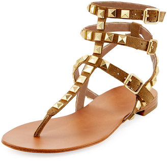 Ash Mumbaia Suede Studded Flat Sandal, Brown/Multi $149 thestylecure.com