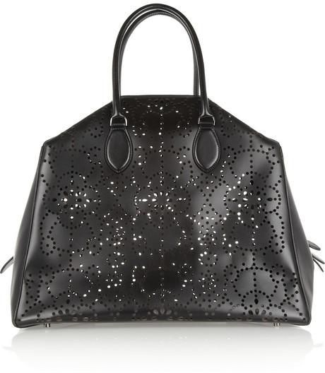 Alaia Laser-cut leather tote