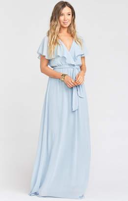 Show Me Your Mumu Audrey Maxi Dress ~ Steel Blue Chiffon