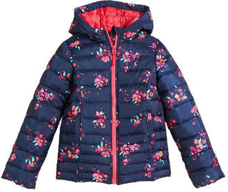 Joules Kinnaird Hooded Floral-Print Quilted Jacket, Size 3-10