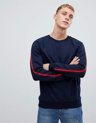 Benetton crew neck sweatshirt with taped sleeves in navy