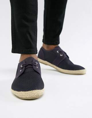 Brave Soul Wide Fit Lace Up Espadrilles In Navy