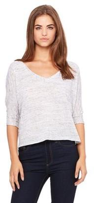 Clementine Apparel Women's Flowy Boxy Half-Sleeve V-Neck T-Shirt