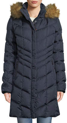 Bogner Kiara Long Chevron Down Puffer Coat w/ Hood & Faux-Fur Trim