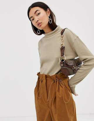 Weekday ribbed roll neck in taupe