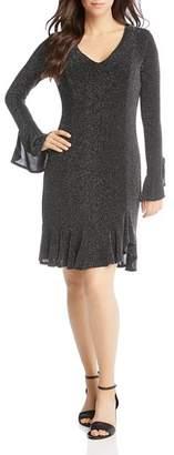 Karen Kane Metallic Flutter Hem Dress