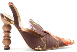 Rosie Assoulin Rasin Sculptured Heel Floral Print Pumps - Womens - Brown Multi