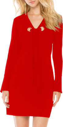 Donna Morgan Grommet-Tie Long-Sleeve Shift Dress, Red