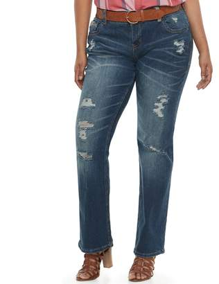 Juniors' Plus Amethyst Belted Baby Bootcut Jeans