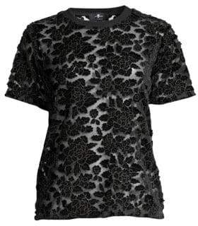 7 For All Mankind Sheer Floral Lace T-Shirt