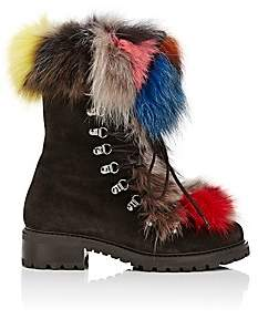 Barneys New York Women's Fur-Trimmed Nubuck Ankle Boots - Dk. brown