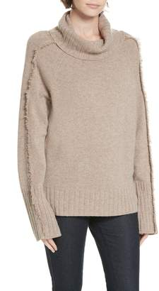 Brochu Walker Jolie Cashmere Fringe Turtleneck Sweater