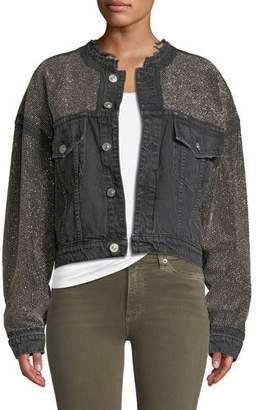 Hudson Rei Cropped Studded Denim Jacket