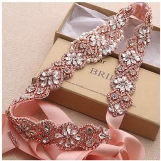 yanstar Wedding Bridal Belt for Wedding Dress Gold Crystal Rhinestone Applique Beaded On White Wedding Belt Sash