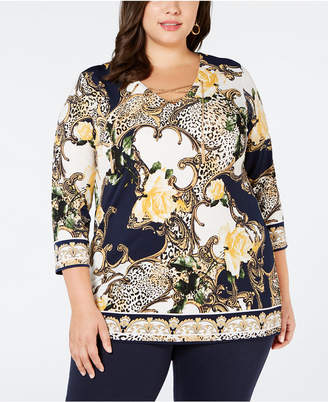 JM Collection Plus Size Printed-Chain Lace-Up Tunic
