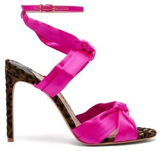 Sophia Webster Violette Knotted Satin Sandals - Womens - Pink Multi