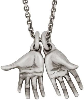 Snake Bones Hands Pendant Necklace in Sterling Silver