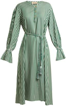 ADRIANA DEGREAS Striped pineapple-embroidered dress