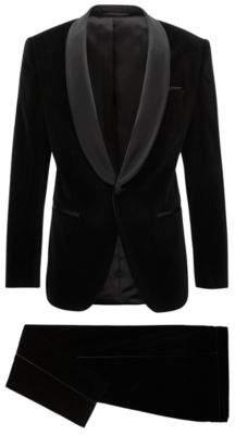 BOSS Hugo Slim-fit tuxedo in velvet silk trims 38S Black