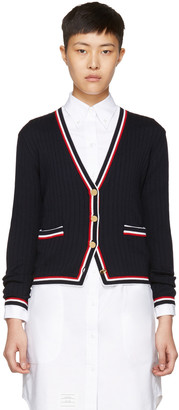 Thom Browne Navy Rib Stitch V-Neck Cardigan $1,190 thestylecure.com