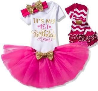 Creative Festive Costume Baby Girl 1st Birthday Dress - Infant Kids Tutu Shiny Outfits