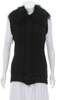 Milly Fur-Trimmed Knit Vest